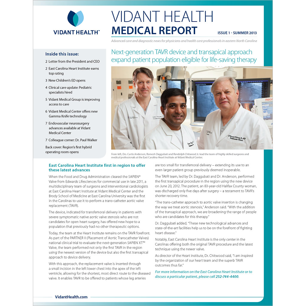 Vidant-Medical-Report-Issue1-2013-Summer-Cover